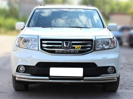 Honda Pilot 2013-наст.вр.-Дуга передняя по низу бампера двойная d-53+53